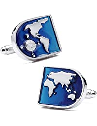 Mens World Map Cufflinks for French Shirt Silver Tone Cuff Links Blue Enamel - Black Box Package Gift for Men
