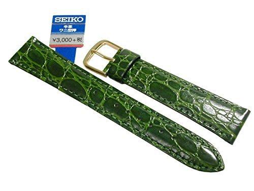〔セイコー〕SEIKO 時計バンド 18mm セイコー 時計バンド DE97 牛革ワニ型押 緑 メンズ