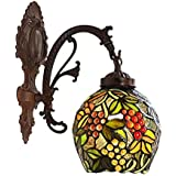Tiffany Style Wall Sconce Light, European Pastoral Stained Glass Grape Wall Lamp for Bedroom Living Room Aisle, Bathroom Mirror Headlight, Single Head, Max 40W,A