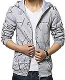 (Willing) パーカー メンズ ファッション ペアルック フード 付き ジップ アップ 長 袖 かっこいい アウター 上着 大きい サイズ も M ~ XXL 男 性 用 (12:グレーM)