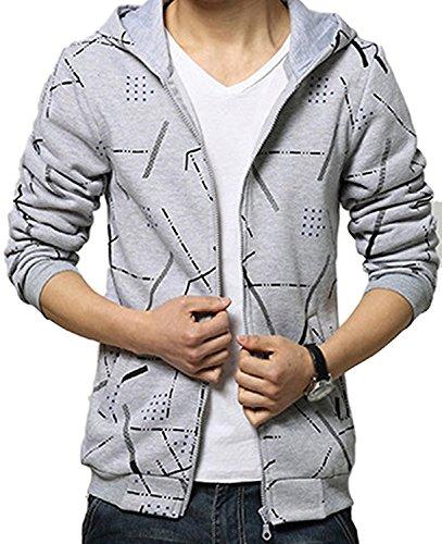 (Willing) パーカー メンズ ファッション ペアルック フード 付き ジップ アップ 長 袖 かっこいい アウター 上着 大きい サイズ も M ~ XXL 男 性 用 (11:グレーS)