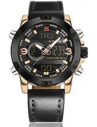 NAVIFORCE レザー バンド 電子時計 クォーツ デジタル デュアルディスプレイ 防水 LED 多機能 スポーツ 腕時計 (ブラック - ゴールド)