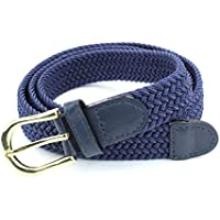 Women's Braided Elastic Woven Stretch Belt Solid Color Gold Buckle and Leather Tip