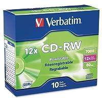 95156Verbatim 95156書き換え可能CDメディア–CD - RW–12x–700MB–10パックスリムケース