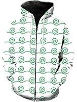 パーカー 手描き 可愛い 曲がる 重複排列 緑 長袖 フード付き 無地 カジュアル 秋服 トップス 3Dプリント レディース メンズ 暖かい ストリートポケット付き 男女兼用 XL