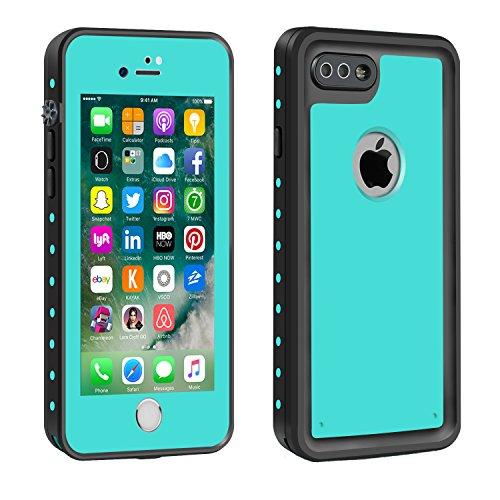 Eonfine-正規品 iPhone 7 Plus 用 防水ケース 100%防水 クリアな音質 アイフォン7プラスケース 防水 防塵 耐衝撃 完全防水 防雪 耐震 落下防止 IP68 指紋認証対応 個性的 7plusカバー ティール