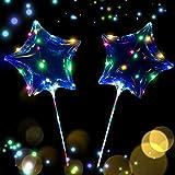 光る風船 透明 LEDバルーン 18インチ 4色 LEDストリングライト付き クリスマス パーティー バレンタインデー 結婚式などの雰囲気飾りに活躍 (星タイプ)
