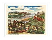コロンビアリバーゴージ、太平洋岸北西部 - ユナイテッド航空カレンダーページ - ビンテージな世界旅行のポスター によって作成された ジョセフ・フェーヘル c.1948 - アートポスター - 51cm x 66cm