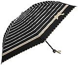 (ムーンバット)MOONBAT ランバンオンブルー 折りたたみミニ傘(遮熱&遮光)パラソル&雨傘 晴雨兼用 ボーダー×リボン