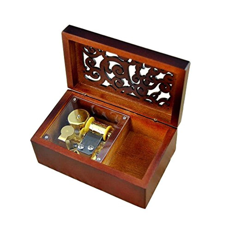 アンティーク刻印木製Wind - Up Musicalボックス、Canon in D Musicalボックス Rectangle