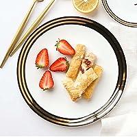 スカンジナビアゴールドレターボーンチャイナプレート、西洋デザートプレート、サラダプレート、ケーキデザートディッシュプレート (色 : Black gold 9 inch)