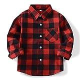 (オチェーンタ)OCHENTA 子供用 ボーイズ ガールズ 男の子 女の子 長袖 チェック柄 カジュアル シャツ キッズシャツ チェックシャツ ワイシャツ Yシャツ E001 レッドブラック 100CM