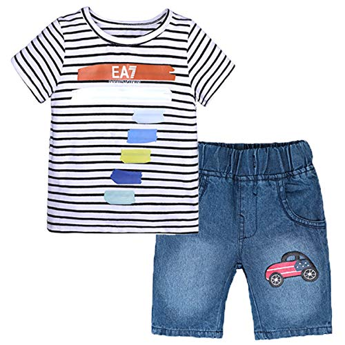 REWANGOING 2 Pcs Little Boys Girls Kids Cotton Monster Truck Print Cotton T-Shirt + Shorts Children's Clothing Outfits Set