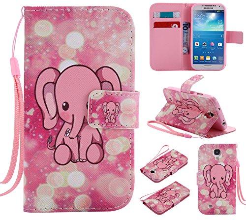 Ooboom Samsung Galaxy S4 ケース 手帳型 横開き カバー 革 マグネット式ド収納 スタンド機能 財布型 カード おしゃれ フリップ ために Samsung Galaxy S4 - 象 ピンク