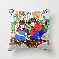 新しい友達 枕カバー 綿100% 家庭装飾 正方形 インテリア 45×45cm