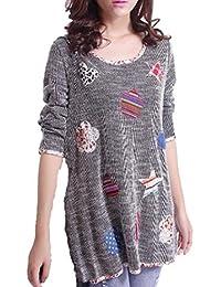 シスタームーン(sistermoon) ゆったり チュニック ロンT tシャツ トップス 花 ハート柄 体型カバー パッチワーク