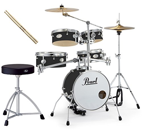 Pearl 소형 드럼 세트 RT-645N/C 31-제트 블랙 리듬 traveler ver.3S 순정 드럼 의자와 스틱 세트-