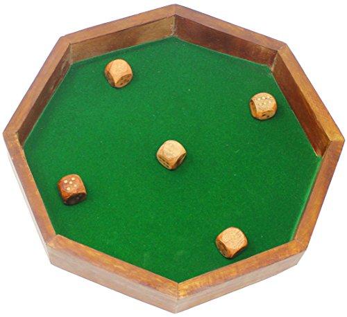 skavijダイストレイfor Diceまたはボードゲーム–木製の八角形トレイfor Dice Set , D & D、RPG、Yahtzee、Farkle、Bunco