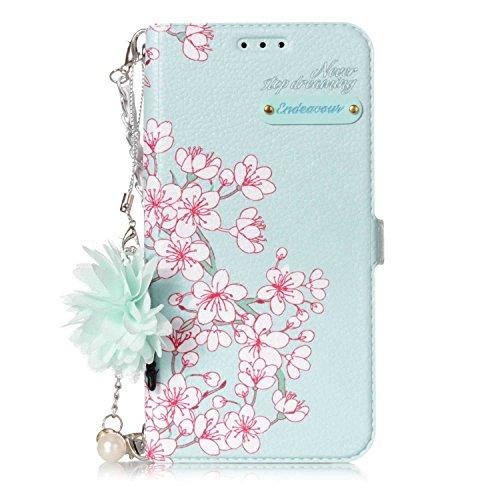 ZeeboxR Galaxy S6 手帳型ケース, 高級感 人気 可愛 小さい新鮮 花柄付き 落下防止 衝撃吸収 ウォレット型 カバー 付きスタンド機能 カード収納付 Galaxy S6 用 Case Cover, さくら