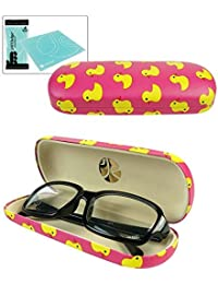 JAVOedge Whimsical Duck印刷パターンハードClam Shell Eyeglass Case withボーナスマイクロファイバークリーニングクロス