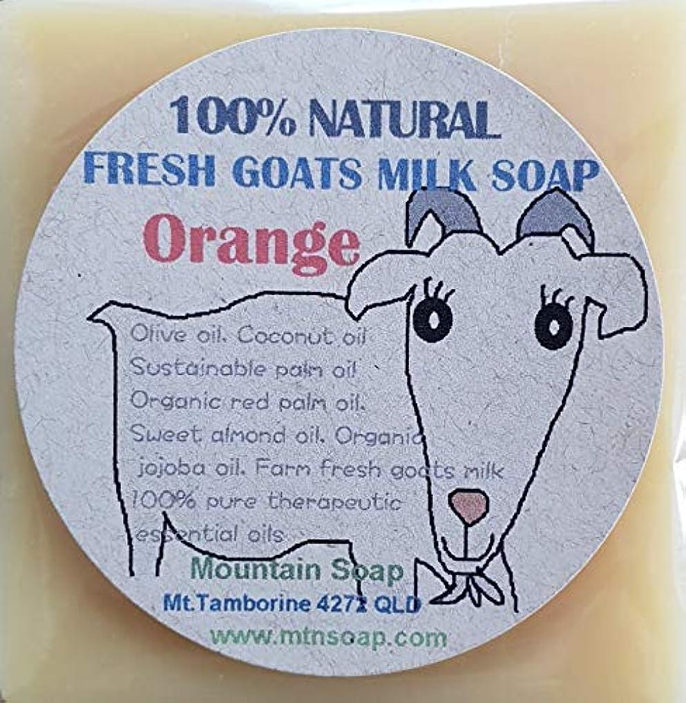 会う透けて見える資産【Mountain Soap】農場直送絞りたて生乳使用 ゴートミルク石鹸 オレンジ