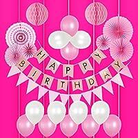 ゴージャス 誕生日 飾り付け 女の子 バルーン HAPPY BIRTHDAY ガーランド バースデー ペーパーフラワー フラッグガーランド 240㎝ 特大 (▽垂付, ピンク)