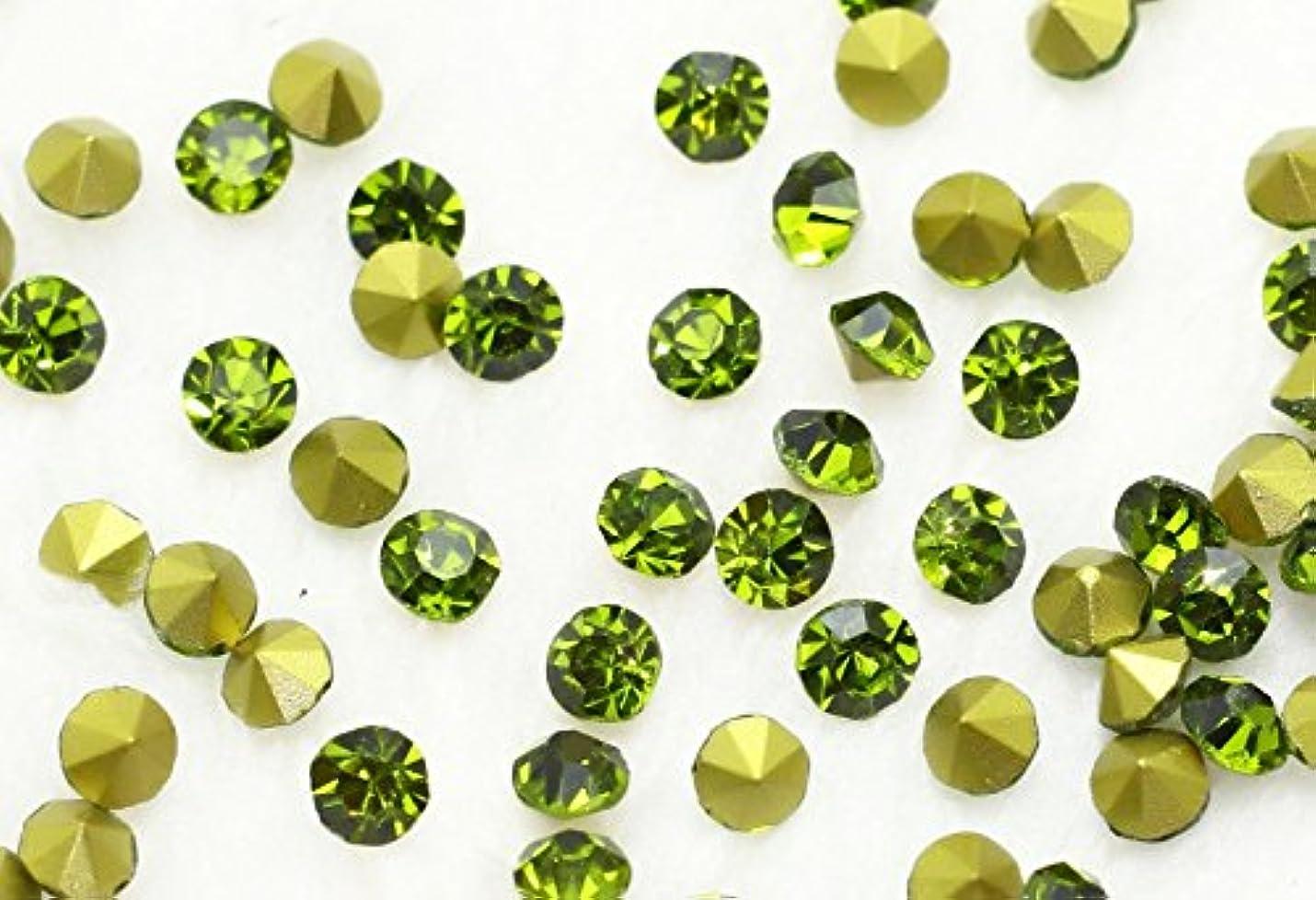 教育者アグネスグレイ誕生ガラス製 Vカットストーン(埋込型) olivine/オリーブ 各サイズ選択可能 (1.4mm (SS3) 約1440粒) [並行輸入品]