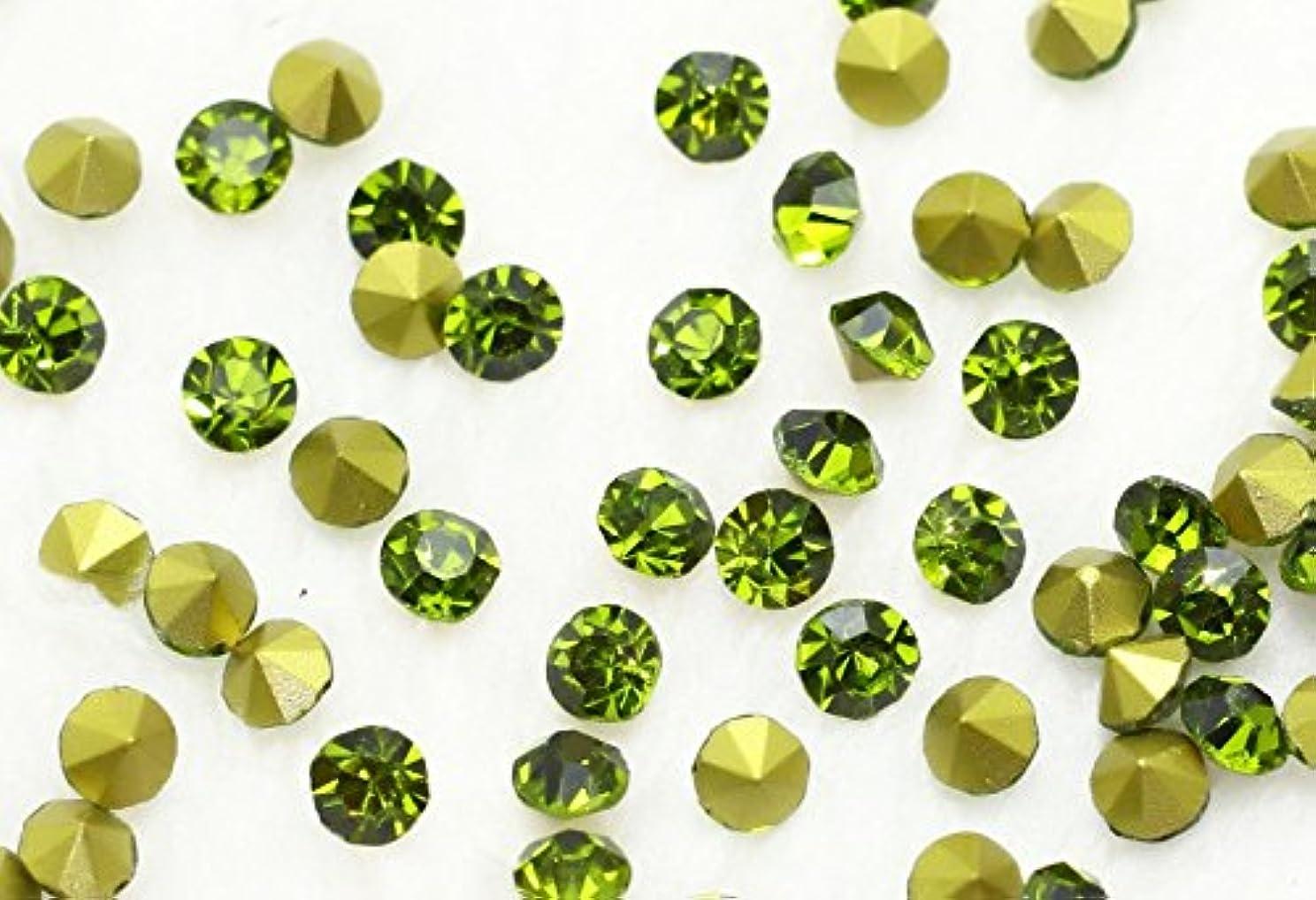足特徴づける着飾るガラス製 Vカットストーン(埋込型) olivine/オリーブ 各サイズ選択可能 (2.0mm (SS6) 約1440粒) [並行輸入品]