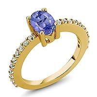 Gem Stone King 1.05カラット 合成ホワイトサファイア (ダイヤのような無色透明) シルバー925 イエローゴールドコーティング 指輪 リング