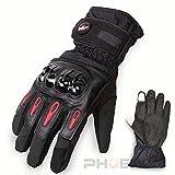 5096 バイク 自転車 防寒 防水 スマートフォン対応 手袋 プロテクター付 ツーリング グローブ 黒 XL