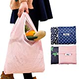 再利用可能な買い物袋 6枚セット 折りたたみ式 トートバッグ 洗濯可能 丈夫 軽量 ブルー Bag-HDBMERFCV9