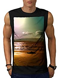 Wellcoda 海 海洋 水 自然 男性用 S-5XL 袖なしTシャツ