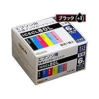 ワールドビジネスサプライ (Luna Life) エプソン用 互換インクカートリッジ IC6CL80L ブラック1本おまけ付き 7本パック LN EP80/6P BK+1(×2セット)