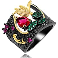 Uloveido Black Hollow Flower Statement Rings for Women Girls Y566