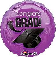 17 congrats grad graduation hat purple foil balloon pack of 5 by