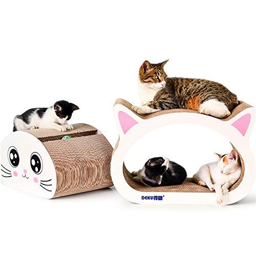 DEKU 爪とぎ 猫の形状おラウンジ 爪磨き 高密度の段ボール 猫のおもちゃ 猫ソファ 家具傷防止 耐久性 一緒に遊ぶために多くの猫に適し