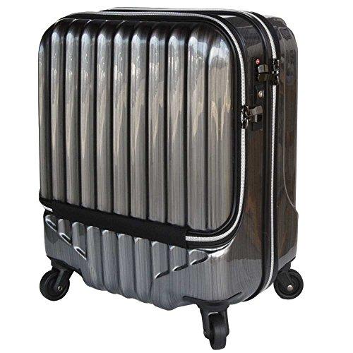 スーツケース 機内持込 軽量 小型 フロントオープン ダブルファスナー 4輪...