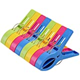 MTSZZF Pack of 8 Large Bright Colour Plastic Beach Towel Pegs Clips for Sunbed