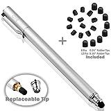 B&D スタイラスペン ペン先交換式タッチペン 2in1 ペン+20pcs交換用ペン先 タッチスクリーン対応 (シルバー)