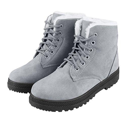 冬用ブーツ スノーブーツ レディース ショート ムートンブーツ 裏ボア スエード調 滑り止め カジュアル 保暖 通気 レースアップブーツ 雪用ブーツ (24, グレー)