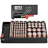 The Battery Storage Organizer Case and Battery Tester, Holds 110 Batteries Various Sizes for AAA, AA, 9V, C, D and Button Bat