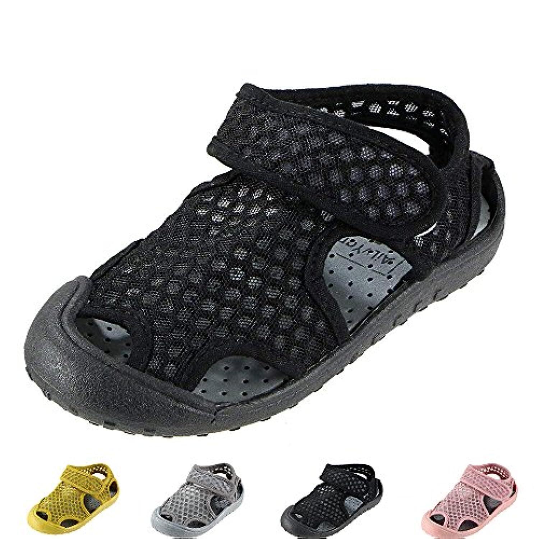 ベビーサンダル キッズ 滑り止め 柔らかい 通気性 子供靴 サンダル つま先保護 水陸両用 スポーツサンダル 男の子女の子 (13-20CM)
