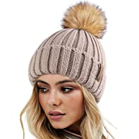FURTALK Womens Knit Winter Beanie Hat Faux Fur Pom Pom Bobble Hat Beanie Girls