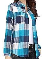 Memories Love 女性のロールアップ袖コットンリネンチェックシャツトップポケット付き six US M