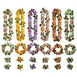 TOYMYTOY ハワイ花輪 ハワイアンレイ ハワイフラワー 花飾り ガーランド 写真撮影道具 ネックレス フェスティバル ルアウ ビーチ 6セット