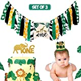 Jungle Safari Highchair Banner Tropical Wild One Themed 1st Birthday Party Decorations Crown Hat Cake Topper Set Baby Boy Zoo Animals Party Supplies Set of 3