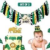 サファリ ジャングル アニマルテーマ 1歳の誕生日 ハイチェア バナー デコレーション ハイチェア バナー ケーキ スマッシュ クラウン デコレーション セット 赤ちゃん 女の子 男の子 1歳の誕生日 パーティー用品 3 in 1