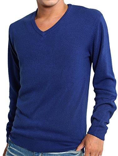 インプローブス セーター カシミア タッチ アクリル Vネック 長袖 ニット メンズ ブルー Mサイズ