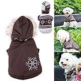 Vktech小型犬ペット暖かいコート冬服 犬服 ドッグウェア 雪花パーカー 両面着 全2色XS-XL (コーヒー, S)