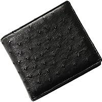 オーストリッチ 二つ折り メンズ 財布 両カード フルポイント 無双仕立て 折り財布 : ブラック
